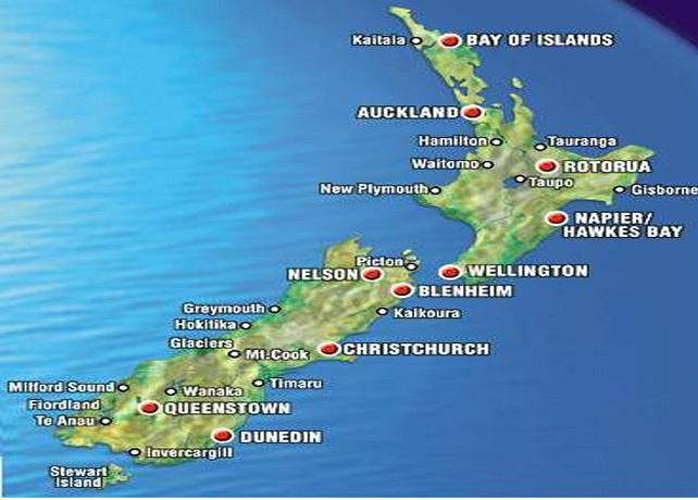 Geographical Map Of New Zealand.Experience New Zealand In Virtual Reality