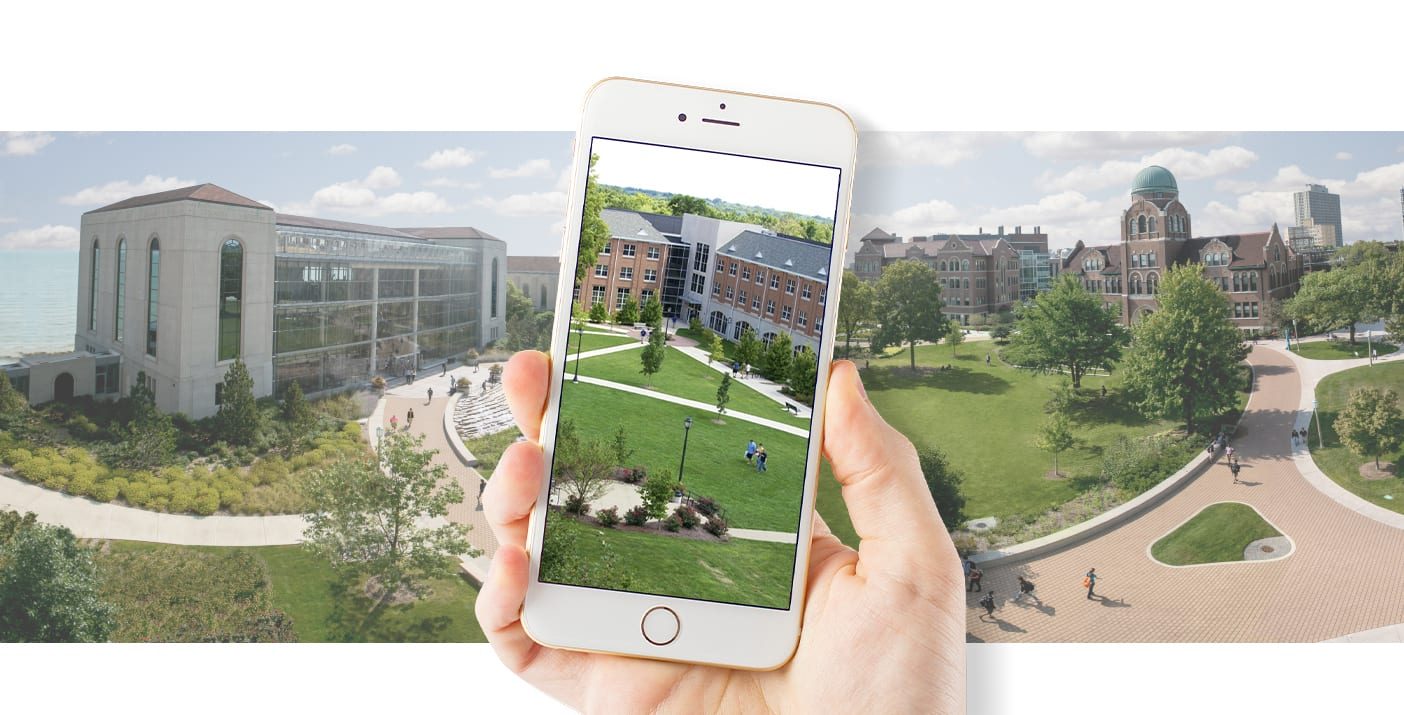 A picture of a virtual tour being displayed on an iPhone.